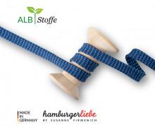 Flechtkordel - Hoodiekordel - Dots - Flach - Orient Oxident - Hamburger Liebe - Stahlblau/Himmelblau