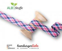 Flechtkordel - Hoodiekordel - Check - Flach - Orient Oxident - Hamburger Liebe - Weiß/Himmelblau/Stahlblau/Pink/Babyrosa