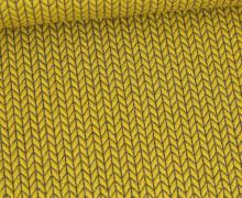 Bio-Elastic Minijacquard Jersey – 3D – Big Knit – Orient Oxident – Hamburger Liebe – Olivgelb