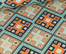 Bio-Jacquard - 7Farb Spezial Jacquard - Magic Carpet - Orient Oxident - Sand/Orange - Hamburger Liebe
