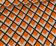 Bio-Jacquard – 3Farb Spezial Jacquard Jersey – Fatima – Orient Oxident – Orange – Hamburger Liebe