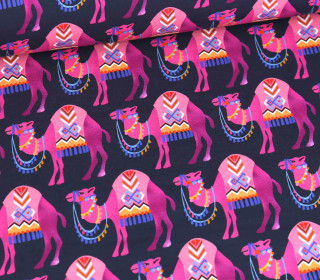 Sommersweat - French Terry - Camel Ride - Orient Oxident - Stahlblau/Pink - Hamburger Liebe