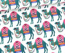 Sommersweat - French Terry - Camel Ride - Orient Oxident - Weiß/Meergrün - Hamburger Liebe
