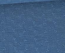 Musselin - Muslin - Uni - Loch-Stickerei - Floral - Double Gauze - 165gr - Schnuffeltuch - Windeltuch - Jeansblau