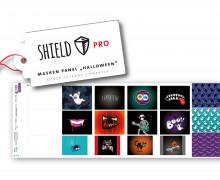 Antimikrobieller Jersey - SHIELD Panel Halloween (Eckig) - Behelf-Mund-Nasen-Schutz - 12 Masken Designs - Hamburger Liebe