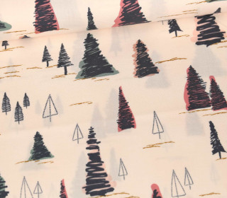 Baumwolle - Webware - Fusion - Abstract Fir Trees - Pastellapricot