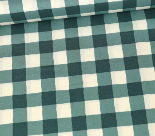 Baumwolle - Webware - Cozy & Joyful - Checkered - Dunkelgrün