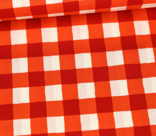 Baumwolle - Webware - Cozy & Joyful - Checkered - Dunkelrot