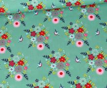 Baumwolle - Webware - Poplin - Birdy Flower - Türkisgrün