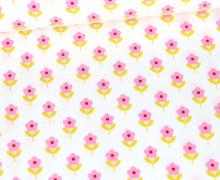 Baumwolle - Webware - Poplin - Flower Love - Weiß