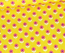 Baumwolle - Webware - Poplin - Flower Love - Gelb