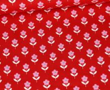 Baumwolle - Webware - Poplin - Flower Love - Rot