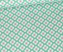 Baumwolle - Webware - Poplin - Sweet Blossoms - Türkisgrün