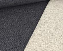 Baumwollsweat - Fischgrätenmuster -  Stahlblau