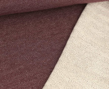 Baumwollsweat - Fischgrätenmuster -  Bordeaux