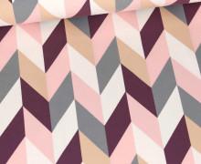 Jersey - Buntes Rautenmuster - Pastellrosa