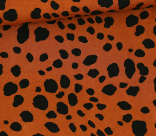 Viskose - Blusenstoff  - Leopards Animal Print - Orangebraun