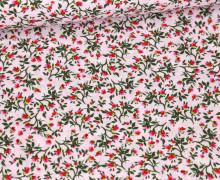 Baumwolle – Webware – Fleur – Blumen – Pastellrosa