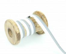 1 Meter Paspelband/Biesenband - Reflektierend - Silber/Weiß