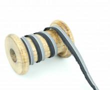 1 Meter Paspelband/Biesenband - Reflektierend - Silber/Schwarz