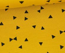 Jersey - Schwarze kleine Dreiecke - Senfgelb