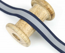 1 Meter Reflektorband - Zierband - Dekoband - 20 mm - Reflektierend - Silber/Dunkelblau