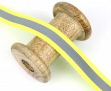 1 Meter Reflektorband - Zierband - Dekoband - 20 mm - Reflektierend - Silber/Neongelb