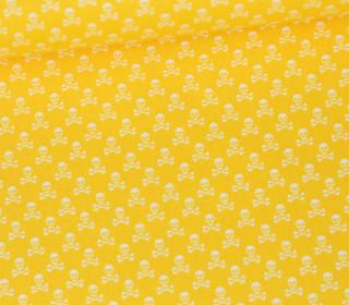 Baumwolle - Webware - Weiße Kleine Totenköpfe - Gelb