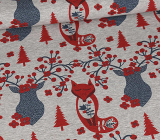 Sommersweat - Scandi Love - Deer And Fox - Weihnachten - Kombistoff - Grau Meliert - abby and me