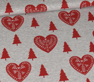 Sommersweat - Scandi Love - Hearts Red - Weihnachten - Kombistoff - Grau Meliert - abby and me