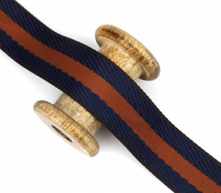 1m Gurtband - Streifen - 40mm - Rehbraun/Stahlblau
