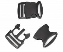 2 Steckschnallen - 50mm - Glatt - Kunststoff - Schwarz