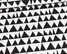 Baumwolle - Webware - Muster Dreiecke - Schwarz/Weiß