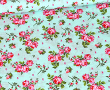 Baumwolle - Webware - Hübsche Rosen - Mint