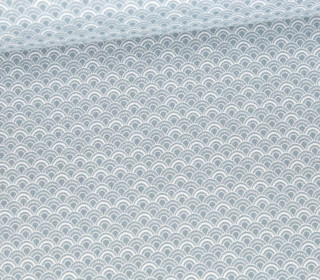 Baumwolle - Webware - Scallop - Graublau