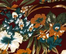 Leichter Viskose Krepp - Dschungel Blumen - Bordeaux