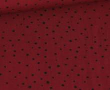 Viskose - Blusenstoff  - Schwarze Pünktchen - Gepunktet - Dunkelrot