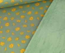 Alpenfleece – Kuschelstoff – Kleine Blüten – Lichtgrün