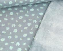 Alpenfleece - Kuschelstoff - Kleine Blüten - Graublau