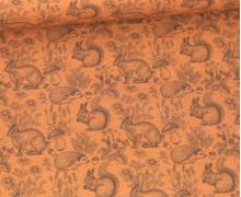 Sommersweat - French Terry - Kleine Waldtiere - Orangegelb