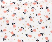 Babycord - Feincord - Sweet Flower - Weiß