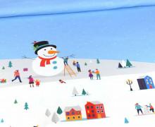 Sommersweat - Winterzeit - Schneevergnügen -  Kids Edition - Weihnachten - Paneel - Weiß - Bio Qualität - abby and me