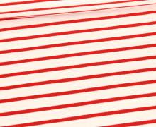 Sommersweat - French Terry - Streifen - Gestreift - Warmweiß/Rot