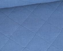 Musselin Steppstoff - Rauten - Taubenblau