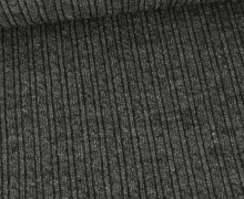 Strickstoff - Schmales Zopfmuster - Dunkelgrau Meliert
