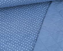 Musselin Steppstoff – Rauten – Aufgedruckte Sterne – Taubenblau