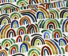 Musselin - Muslin - Double Gauze - Bedruckt - Regenbögen  - Weiß