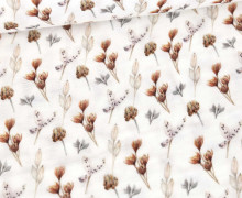 Musselin - Muslin - Double Gauze - Bedruckt - Zweige  & Blätter - Weiß
