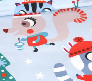 Sommersweat - Schneegestöber - Gewusel - Paneel - Weihnachten - Hellblau - Bio Qualität - abby and me