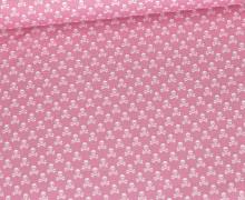 Baumwolle - Webware - Weiße Kleine Totenköpfe - Rosa